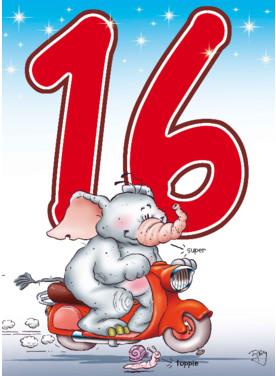 Verjaardagswensen kaartje 16 jaar