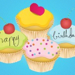 cupcakes verjaardagskaart blauw
